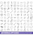 100 mobile app icons set outline style vector image vector image