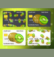 bank credit card design with sweet kiwi vector image vector image