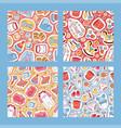 bastickers seamless pattern cartoon kids toys vector image