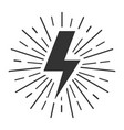 black lightning with rays on white background vector image