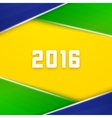 Brazil flag colors background with 2016 text vector image vector image