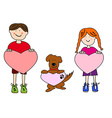 Cartoon kids and dog holding heart shapes vector image vector image