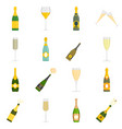 champagne bottle glass icons set isolated vector image vector image