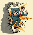 chess grandmaster breaks a wall destroys vector image vector image