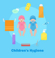 children s health and hygiene icons banner vector image