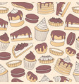 chocolate pastry repeat pattern with cakes pies vector image