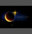 crescent moon and stars for ramadan theme vector image