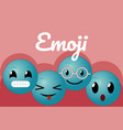 cute round emojis cartoons vector image