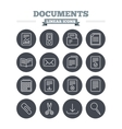 Documents linear icons set Thin outline signs vector image vector image