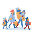 family going home from shopping with many bags vector image vector image