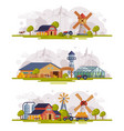 farm scenes set rural buildings and agricultural vector image vector image