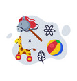 giraffe stick horse ball batoys set kids vector image vector image