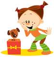 girl and dog vector image