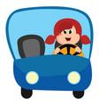 girl behind wheel on white background