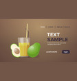 glass fresh avocado juice with straw and cut in vector image
