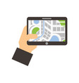 hand holding tablet with city map navigator vector image vector image