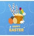 Happy Easter Eggs Grass Flowers vector image vector image