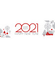 happy new 2021 year christmas flyer with reindeer vector image vector image