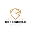 horse shield monoline logo icon vector image