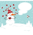 invitation card with a snowman vector image vector image