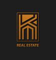 letter k real estate logo design template vector image vector image