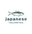 line art tuna japanese yellowtail logo design vector image vector image
