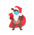 little ox in santa hat wearing mask to prevent vector image vector image