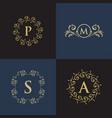 luxury floral decorative logo vector image vector image