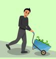 man wheelbarrow cash money concept banner cartoon vector image