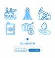 oil industry thin line icons set vector image