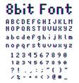 pixel retro font 8-bit alphabet vector image vector image