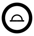 protractor black icon in circle vector image