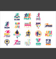 run sport club logo templates set emblems vector image