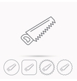 Saw icon Carpentry equipment sign vector image vector image