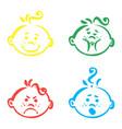 set of cute baby emoticons very simple vector image