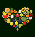 set of fruit icons forming heart shape vector image vector image