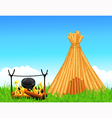 Shelter of branches and fireplace vector image