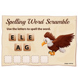 spelling word scramble game with word eagle vector image vector image