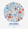 sport equipment concept in circle vector image vector image