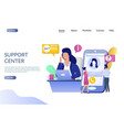 support center website landing page design vector image vector image