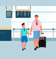 travelers in airport family in terminal vector image