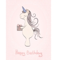 Unicorn birthday card vector image vector image