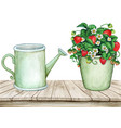watercolor vintage wooden table with water can vector image