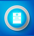 white barrel oil icon isolated on blue background vector image vector image