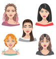 woman faces avatar set vector image