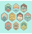 Mountain badges linear 1color vector image