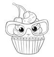 a children coloring bookpage a cartoon cupcake vector image vector image
