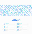 airport concept with thin line icons vector image vector image