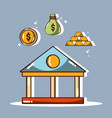bank with coin and bag and gold vector image vector image
