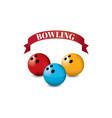 bowling red ribbon pin 3 balls red blue yellow vector image vector image